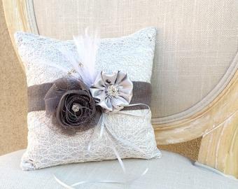 Ring Pillow, Wedding Pillow, Ring Boy Pillow, Silver Ring Pillow, Silver Wedding, Vintage Wedding, Rosettes, Feather Ring Pillow, *NEW*