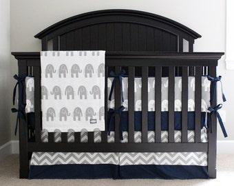 elephant nursery crib bedding set baby boy navy blue crib sheet chevron crib