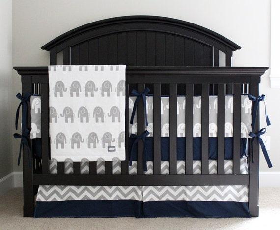 elephant nursery crib bedding set baby boy navy blue crib. Black Bedroom Furniture Sets. Home Design Ideas