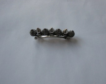 Gunmetal Crystal and Silver Spike French Barrette, for weddings, parties, evening, cocktail, special occasions
