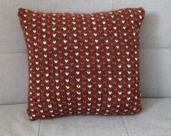 Cushion, Throw Pillow, Knitted Pillow, Hand Knitted Cushion, Pure Wool, UK Seller, Ginger, Brown,