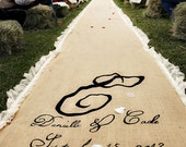 20ft Lace Burlap Wedding Aisle Runner with Custom Monogram Initials - Natural Burlap-Rustic Wedding-County Wedding