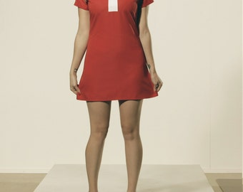 Red Peter Pan Collar Mod Shift Dress 1960's Retro White Collar