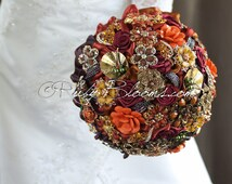 "Gold Autumn Wedding Brooch Bouquet. ""Autumn Transition"" Fall Wedding Bouquet, Vintage Crystal Bridal Broach Bouquet, Ruby Blooms Weddings"