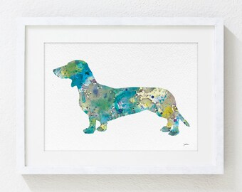 Watercolor Art - Dachshund Watercolor Painting Print - Blue Wall Decor, Home Living - Animal Painting Watercolor - 5x7 Archival Print