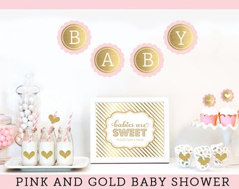 Baby Girl Shower Decorations - Pink Baby Shower Decor - Baby Girl Shower Ideas - Baby Girl Shower Centerpiece, Sign KIT - (EB4011BS)