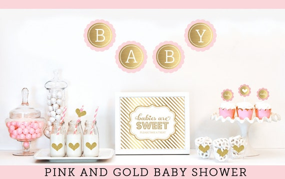Pink And Gold Baby Shower Decor Unique Baby Shower Ideas