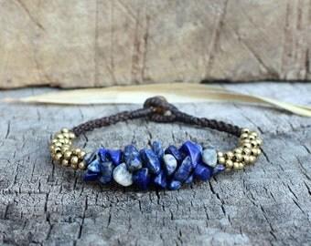 Lapis lazuli Stone Brass Bracelet