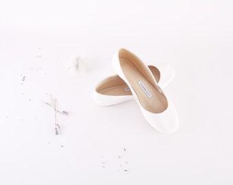 Bridal Ballet Flats   Wedding Flats   Ballerinas Shoes   White Bridal Flats   Milk White...ready to ship