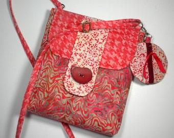 Crossbody iPad Purse, Peach Small Travel Tablet Handbag Hipster One of a Kind Boho Bag