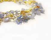 Forget me not Necklace Original Artisan Crochet Jewelry Multi Strand Pastel Blue Yellow Gold Beach Wedding