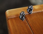 Heart Earrings -- Anatomical Heart Earrings, Anatomically Correct Heart Studs, Nurse, Doctor, Classic Black & White
