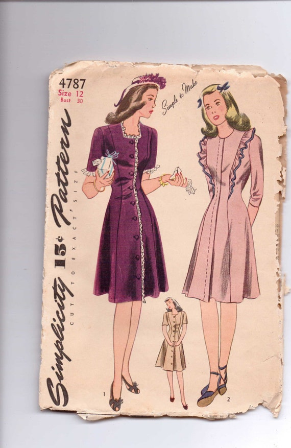Simplicity Sewing Pattern 4787 Junior Misses Dress Size 12 1940s