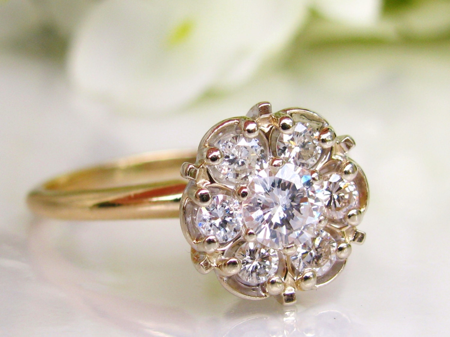 Vintage Engagement Ring 0 62ctw Daisy Diamond Cluster Ring 14k