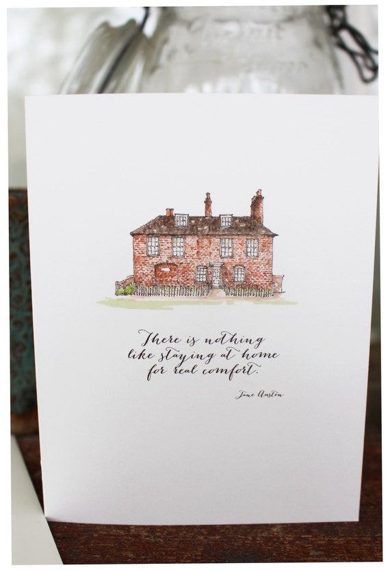 Jane Austen Chawton House Greeting Card By Littlehouseshop