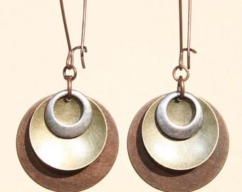Mixed Metal Earrings Copper Brass Silver Earrings Dangle Earrings Boho Jewelry Long Earrings Gift For Her Gift Ideas