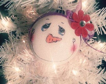 Personalized Holiday Ornament Snowgirl