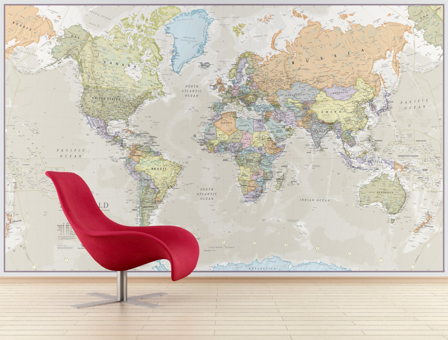 Giant classic world map mural home decor push pin map for Classic world map wall mural