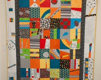 Abstract Modern Meandering Whimsical Lap Quilt