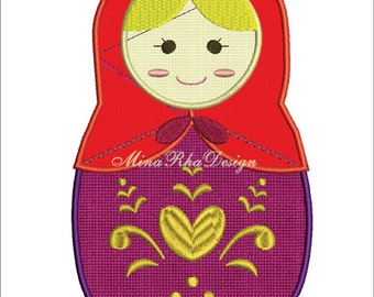 Matryoshka machine embroidery design Russian Doll Instant Download