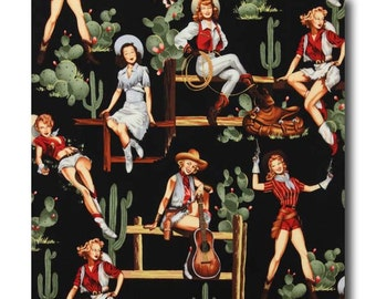 Cotton Quilting Fabric by the Yard- Alexander Henry - From the Hip Pinups Black