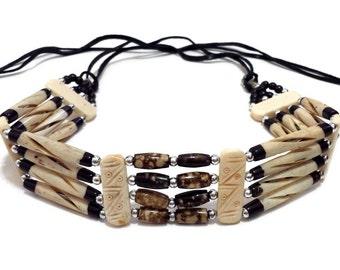 Handmade Tribal 4 Line Buffalo Bone Hairpipe Beads Traditional Choker Necklace
