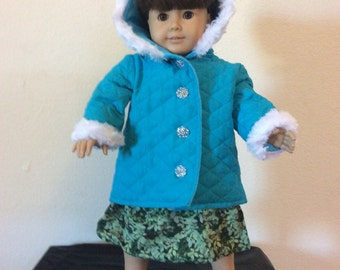 "Lovely Turquoise Blue Quilted, Fur Jacket/Coat for 18"" / American Girl Doll"