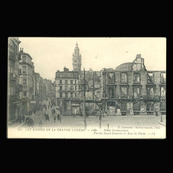 hotel continental lille france vintage postcard. Black Bedroom Furniture Sets. Home Design Ideas