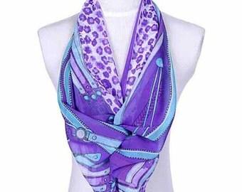 Womens Scarf, Purple Scarf, Leopard Print Scarf, Floral Print Scarf, Chiffon Scarf, Voile Scarf, Cotton Scarf, Fashion Scarf