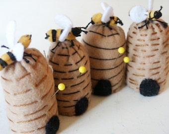 FREE SHIP Mini Beehive bottlecap Pincushion made to order