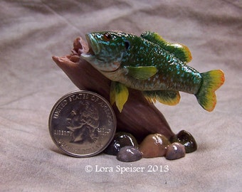 Bass Mount  Miniature Original Sculpture Trophy Mount  Warmouth Custom Order Fish Any Species of game fish Dollhouse Scale