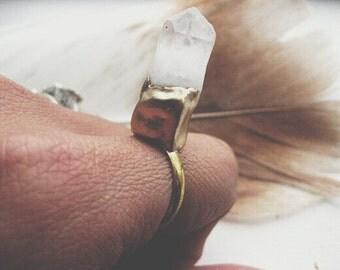 Nomad - Quartz Crystal Geode Stone Ring