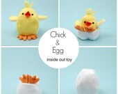Chick and Egg. Inside Out Softie. Sewing pattern. DIY. Farm plushie. Easter DIY for kids. Reversible toy. Sew your own plushie. Chick softie