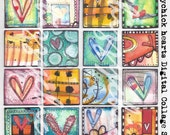 Hearts - Digital Artwork Collage Sheet