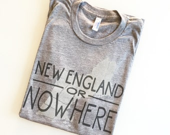 New England or Nowhere  - funny screen printed map shirt - gray XL