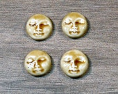 Set of Four Small Round Ceramic Face Stone Cabochons in Peachy Tan