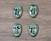Set of Four Small Almond Ceramic Face Stone Cabochons in Peacock