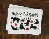 Funny Cats Birthday Card - Kittens & Cats in Party Hats