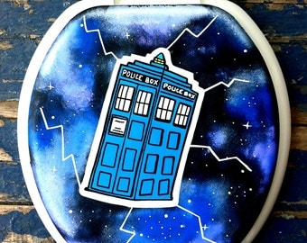 Doctor Who TARDIS Hand Painted Toilet Seat Rock by Debbie Is Adopted
