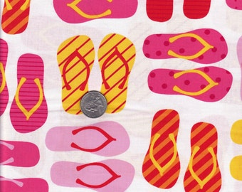 Ann Kelle This and That Garden Flipflops Robert Kaufman cotton quilt fabric - half yard