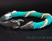 Seed bead Snake bracelet in matte turquoise, silver and pearl