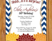 Surprise Birthday Fall Autumn Floral Flower Invite Navy Blue Chevron Red Orange Yellow 50th 60th Birthday Party Invite 5x7 Digital JPG (329)