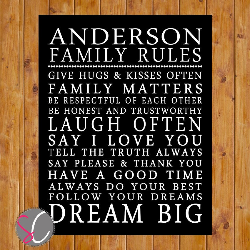 Printable Family Wall Decor : Printable personalized family household rules wall art black