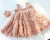 Paris And Pearls - Crochet Pattern Sundress and Flower pattern, Sizes Newborn - 3T