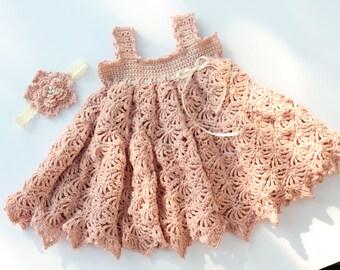 Crochet Baby Dress Pattern Crochet Sundress Pattern Crochet Flower pattern Sizes Newborn - 3T Paris And Pearls