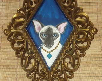 Siamese Cat Painting OOAK Collectible