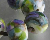 Grapevine Lampwork Spacer Handmade frit Glass Beads Green Purple White Choice 2 4 5 or 6 bead set