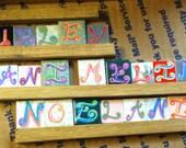 "Repurposed 1"" Ceramic Tiles Scrabble Alphabet Hand Painted Letters Fairy Garden Magnet Supplies"