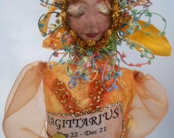 "SAGITTARIUS- ZODIAC Art Doll, One Of A Kind, 20 cm (8"") Tall, Cloth Doll, Bambole, Michelle Munzone, home decor, gift idea, textile art"