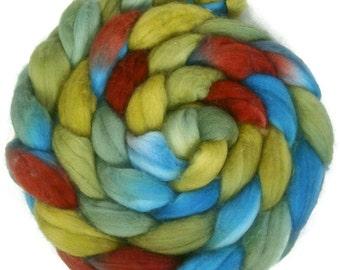 Handpainted Superwash Merino Wool Nylon 80/20 Sock Roving - 4 oz. VINTAGE - Spinning Fiber